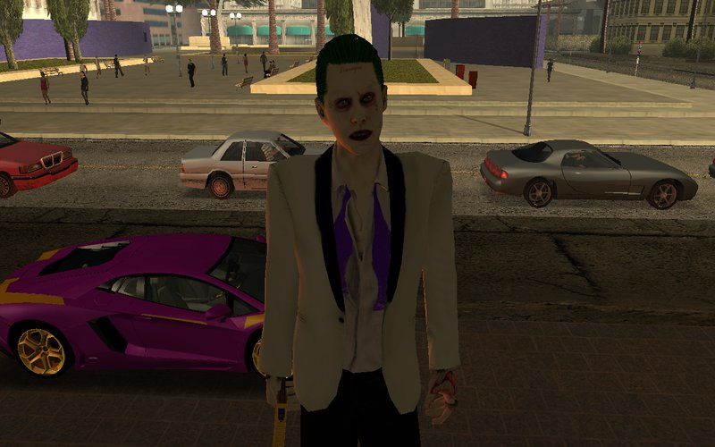 Gta San Andreas Joker White Suit With Car And Gun Mod