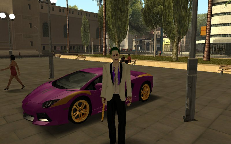 Gta San Andreas Joker White Suit 2 0 With Car And Gun Mod