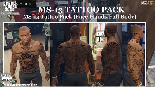 MS-13 Tattoo Pack (Face,Hands & Full Body)