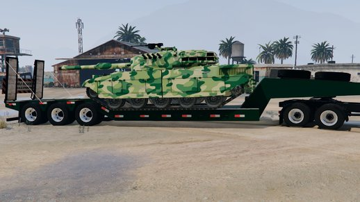 Flatbed Trailer With Army Cargo