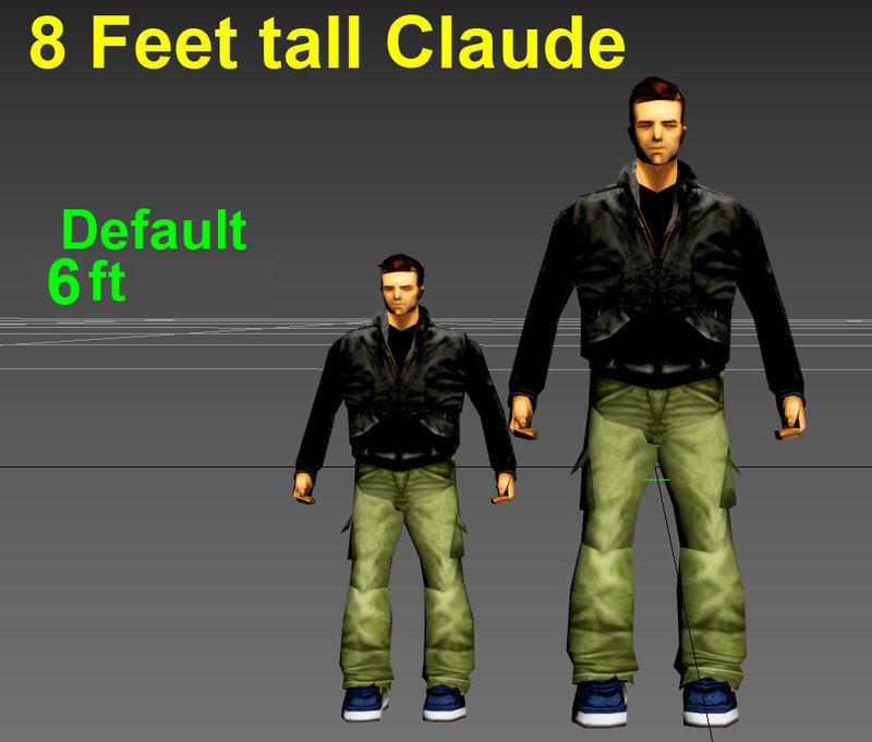 GTA 3 4-10 Ft Short/tall Dwarf/gigant Claude Mod