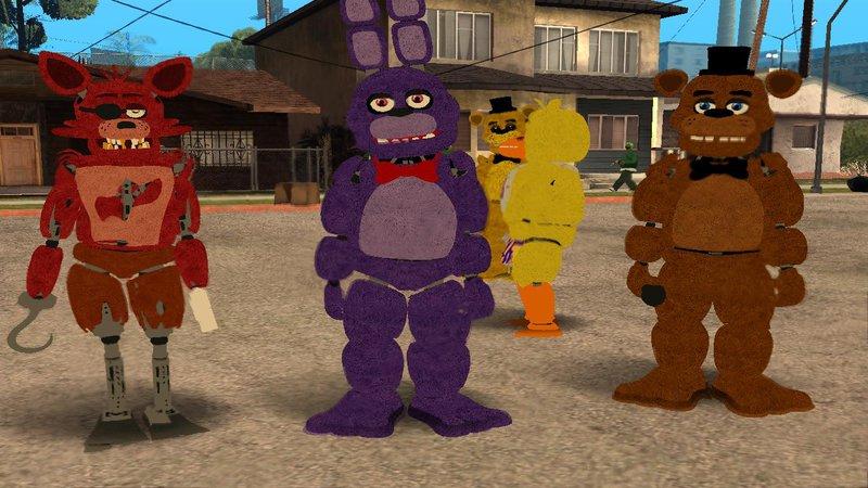 GTA San Andreas Five Nights at Freddy's 1 Skin Pack Mod