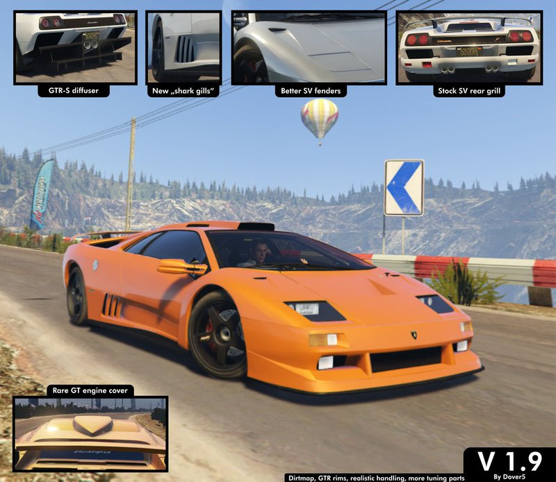 Gta 5 Lamborghini Diablo Gtr Add On Tuning Template Mod