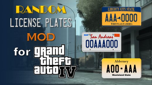 Random License Plates Mod for Grand Theft Auto IV