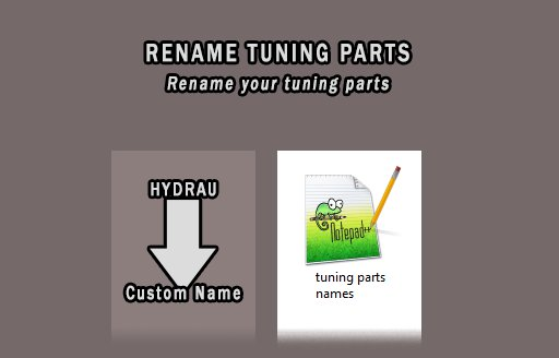 Rename Tuning Parts