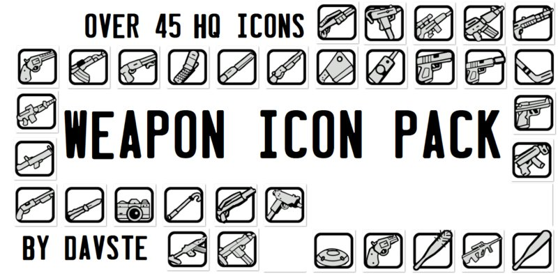 GTA San Andreas 45 HQ Weapon Icons V4 Mod