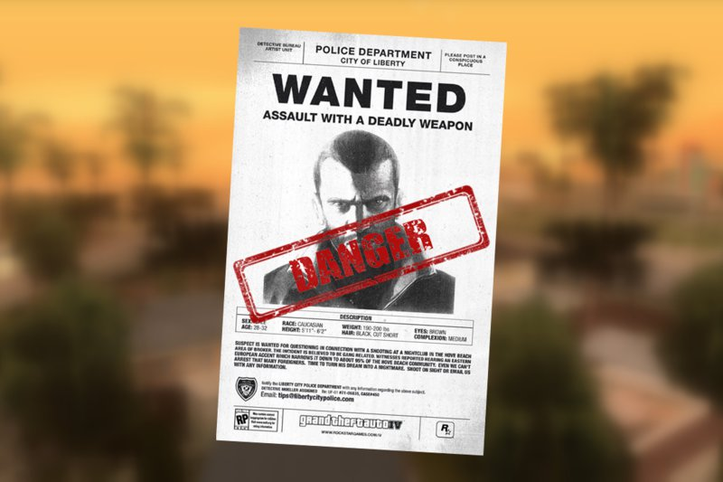 GTA San Andreas Niko Bellic Wanted Poster Mod - GTAinside.com