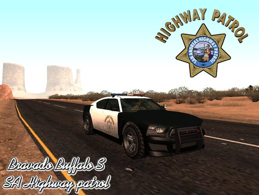 GTA V Bravado Buffalo SA Highway Patrol livery (Paintjob/TXD only)