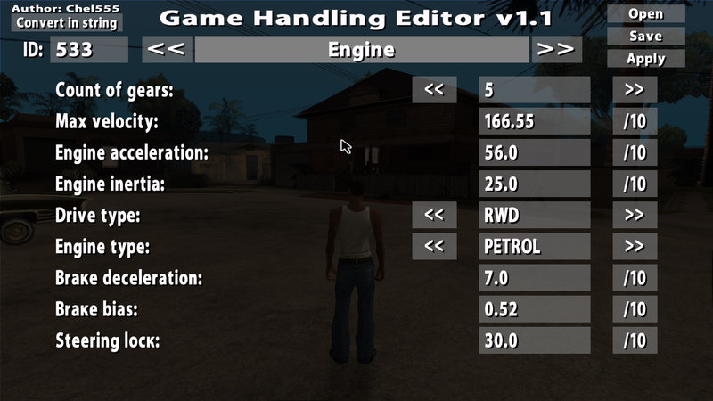 GTA San Andreas Game Handling Editor v1 1 Mod - GTAinside com