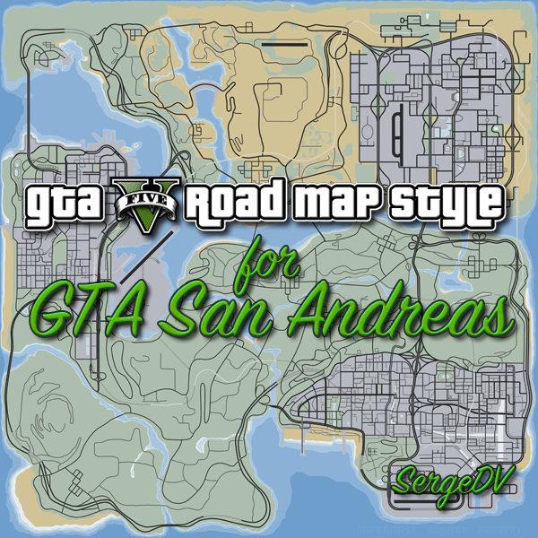 GTA San Andreas GTA V road map style (RMS-XE) v1 1 Mod