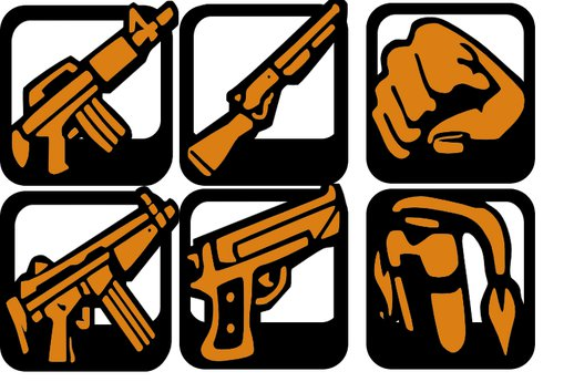 GTA San Andreas HD Weapons icon in Beta GTA Stories style