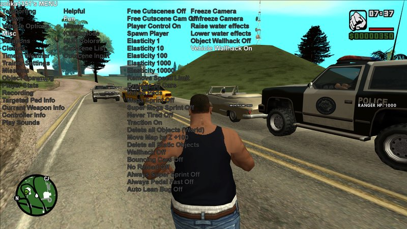 GTA San Andreas Zolika1351's Native Trainer/Mod Menu Mod