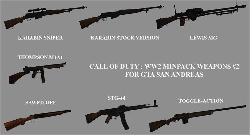 GTA San Andreas COD WW2 Weapons Minipack 2 Mod - GTAinside com