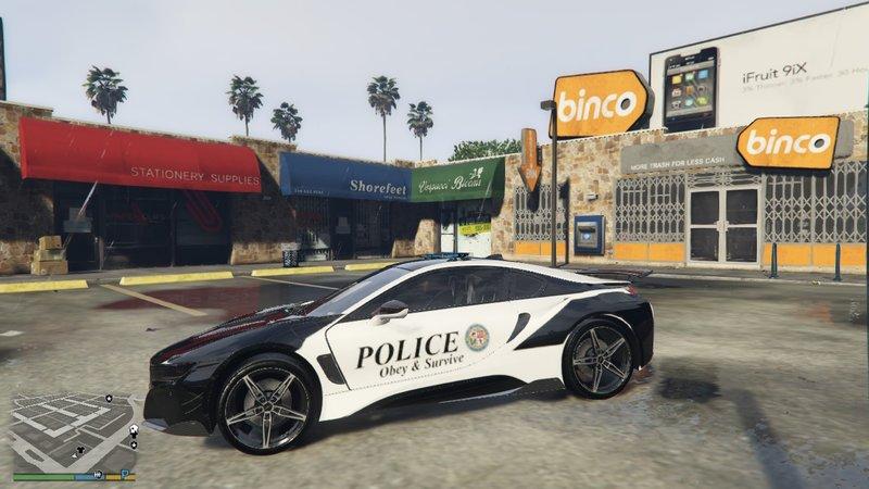 Gta 5 Bmw I8 Police Car Lore Friendly Lspd Mod Gtainside Com