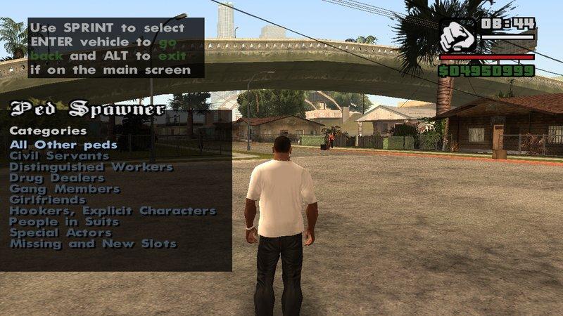 GTA San Andreas Simplified Ped Spawner Mod - GTAinside com