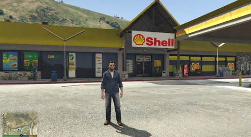 Shell Gas Station and Subway on Rest Area