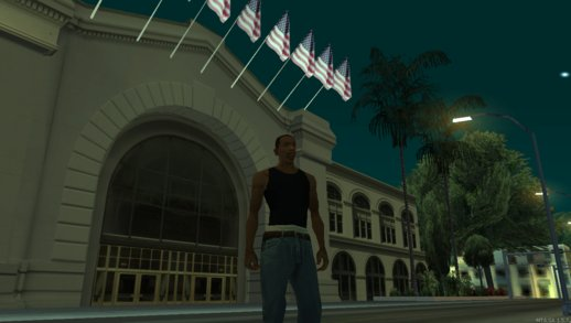 City Hall With Parking In The Back And Stage In Los Santos