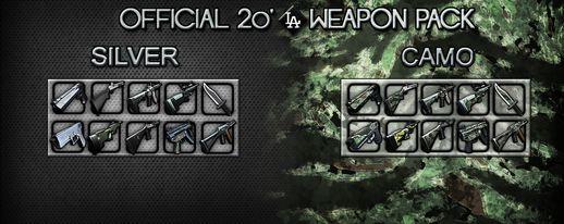 SILVER/CAMO 20'LA Weapon Pack